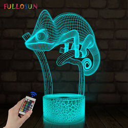Chameleon 3D Night Light Remote Control 16 Color Lizard LED Lamp Birthday Gifts