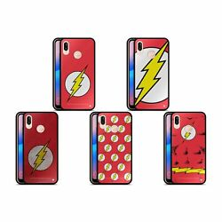 Official The Flash Dc Comics Logo Black Hybrid Glass Back Case For Huawei Phones