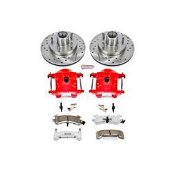 Kc1985-26 Powerstop Brake Disc And Caliper Kits 2-wheel Set Front For Chevy