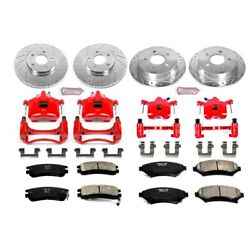 Kc1544 Powerstop 4-wheel Set Brake Disc And Caliper Kits Front And Rear For Chevy
