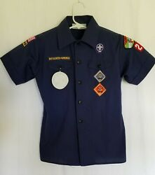 Official Boy Scout Bsa Shirt Youth M Dark Blue Yocona Council Miss And Patches