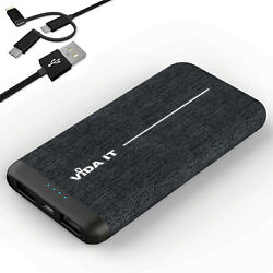 Unique Fabric Design Slim Power Bank 8000mah Battery Pack Charger With Usb Cable