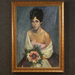 Painting Framework With Frame Lady Portrait Signed Mixed Media Antique Style