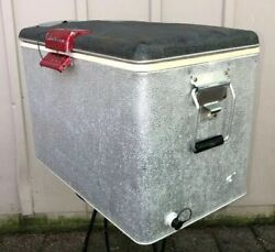Sears Ted Williams Camping Ice Chest Cooler Aluminum Wrapped Vtg 60s 22andrdquox13andrdquox16andrdquo