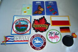 Lot 11 Various Iron-on Embroidered Patches - Travel Post Office Cherries
