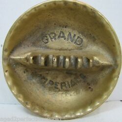 Grand Imperial Old Hotel Advertising Ashtray Solid Thick Brass Tray