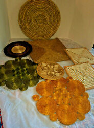 Vintage Lot Of 8 Woven Wicker Ratan Hot Pads / Wall Décor Decorations