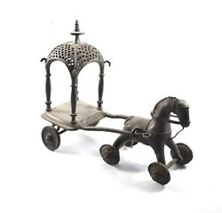 Antique Horse Chariot Brass Toy Handcrafted Solid Unique Indian Tribal Dandeacutecor Art