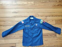 Boy Scouts Of America Bsa Official Uniform Navy Long Sleeve Shirt, Youth Small