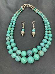 Vtg Native American Heavy Turquoise 2 Strand Coin Silver Necklace And Earring Set