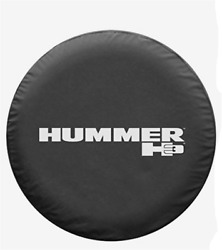 17inch Spare Tire Cover For Hummer H3 Silver Logo Wheel Tyre Covers Vinyl Black