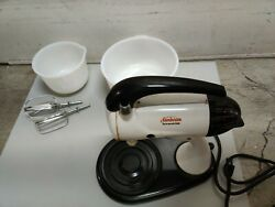 Vintage Sunbeam Model 12 Mixmaster Stand Mixer Large And Small Milk Glass Bowls