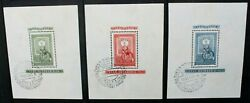 Hungary 1951 First Hungarian Postage Stamp. 3 Souvenir Sheets Used/cto Sgms1199a