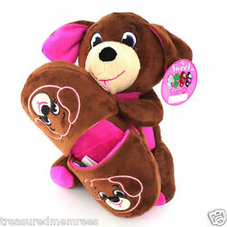 2 Piece Plush Stuffed Animal & Slippers Set ~ Size LargeXL ~ New With Tags $9.00