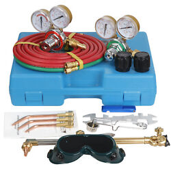 Gas Welding And Cutting Kit Acetylene Oxygen Torch Regulator With 3 Nozzles And Case
