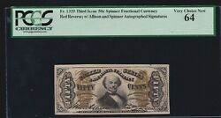 Us 50c Fractional Currency Autographed Red Back Fr 1329 Pcgs 64 V Ch Cu