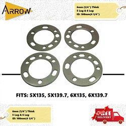 4pc Universal Wheel Spacer Fit 5x135 5x139.7 6x135 6x139.7 6mm 1/4andrdquo Toyota Ford