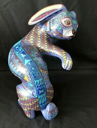 Large 13 Carved Rabbit Jacobo And Maria Angeles Oaxaca Mexico Fine Paint Detail