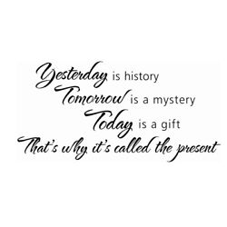 Removable Decals English Proverb Wall Posters Yesterday is History Sticker 3