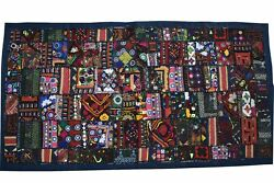 Bohemian Hand Embroidered Patchwork Wall Hanging Handmade Vintage Gypsy Tapestry