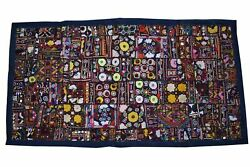 Kutchi Mirror Embroidered Patchwork Wall Hanging Handmade Vintage Gypsy Tapestry