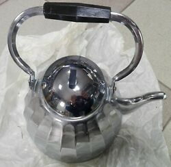 Vintage Teapot Steel 1990s Stainless Ussr Faceted Chrome
