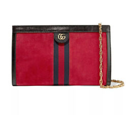 Patent Calfskin And Suede Red Medium Ophidia Bag Retail 2,300.00