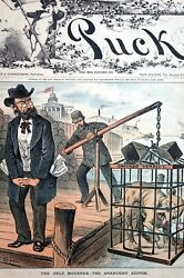 Chicago Verdict 1886 LOST COURT CASE CAGED DOG ANARCHIST DROWNED EDITOR MOURNS