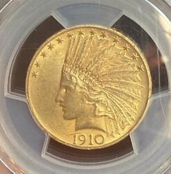 1910 Gold 10 Indian Pcgs Ms63