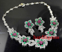 Solid 925 Sterling Silver Natural Rose Cut Diamond Ruby Emerald Flower Necklace