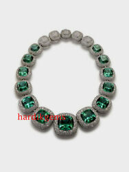 Solid 925 Sterling Silver Natural Diamond And Apatite Quartz Wedding Necklace
