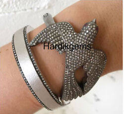 Natural Rose Cut Diamond Solid 925 Sterling Silver Victorian Handmade Bangle