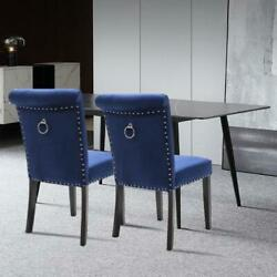 2pcs Kitchen Dining Chairs Velvet Tufted Upholstered Solid Wood Leg W/ Pull Ring