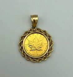 1991 5 1/10 Oz .9999 Gold Canadian Maple Leaf Coin In Rope Bezel pendant