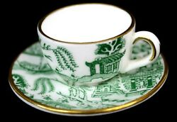 Vintage Coalport Miniature Willow Tea Cup And Saucer Bone China Made In England