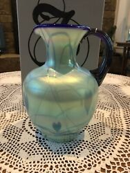 Fenton Glass Green And Blue Pitcher 8800 Gf