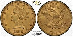 1890 $10 Gold Eagle. PCGS MS63. Top Pop at CAC. Simpson Hall Pedigree.