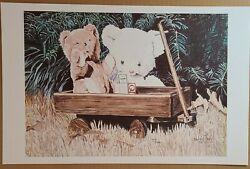 Vintage Limited Signed Art Print Teddy Bears Wooden Wagon Toys Outside 11 X 17