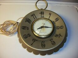 General Electric Vintage Wall Clock Telechron Metal Back Glass Face Ge Old