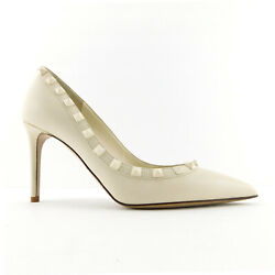 New Valentino Size 7 Rockstud Ivory Studded Leather Heels Pumps Shoes 37 Eur