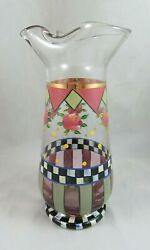 Mackenzie Childs - Glass Speakeasy Pitcher - Courtly Check With Roses