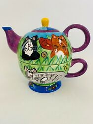 Candace Reiter Catzilla Ceramic Teapot Cup Combo - Small Chip On Cup