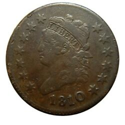 Large Cent/penny 1810 10 Over 09 Overdate Sheldon 281 Nice+