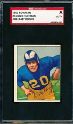 1950 Bowman Football 53 Dick Huffman Rookie Rc Signed Auto Sgc Authentic