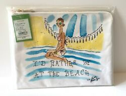 NWT LILLY PULITZER I'D RATHER BE AT THE BEACH LARGE ZIP COSMETIC POUCH WHITE BAG $27.00