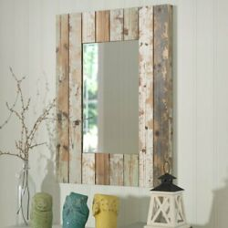 Rustic Vintage Accent Wall Mirror Solid Wood Farmhouse Cottage Painted Neutral