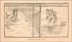 Mermaids Play Tennis With Fish Rackets, Antique Litho, Matted, Original 1885