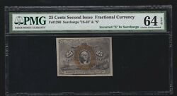 Us 25c Fractional Currency Scarce Inverted S Surcharge Variety Fr 1286 Pmg 64epq