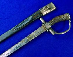 Antique German Germany 18 Century Silver Stag Short Hunting Sword W/ Scabbard