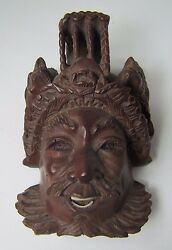 Old Miniature Carved Asian Man W/ Devil Dogs Exquisite Detailing Eyes Teeth -ma3